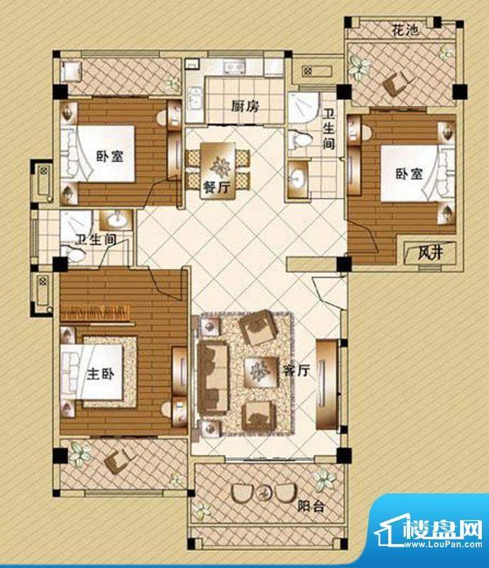 嘉泰皇家滨城户型3房面积:125.00m平米