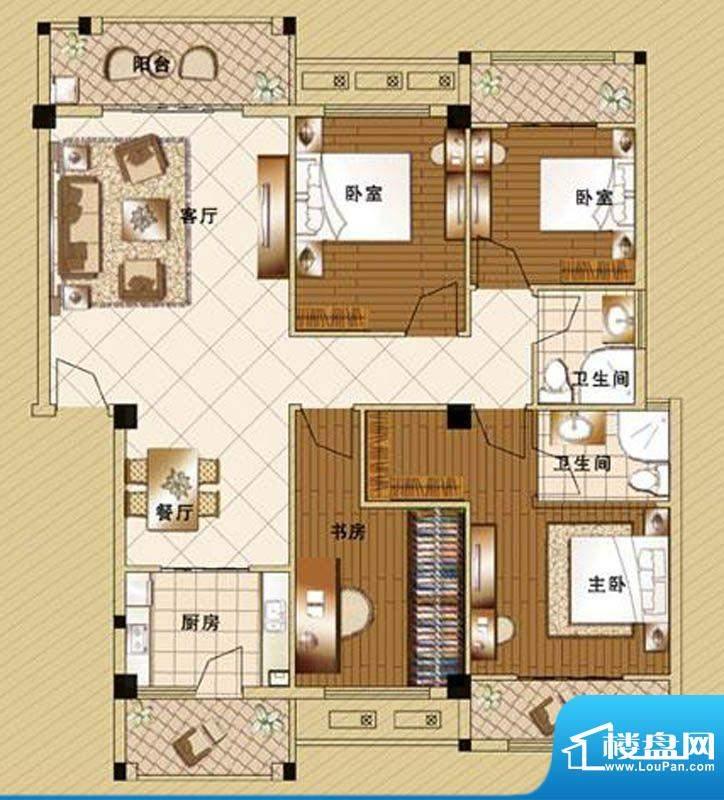 嘉泰皇家滨城户型4房面积:155.00m平米
