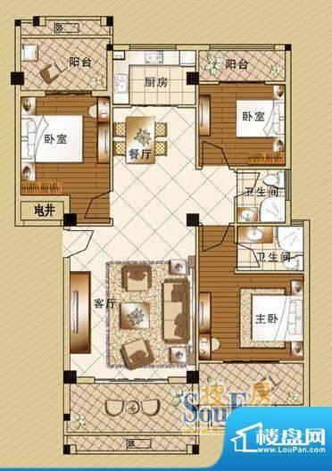 嘉泰皇家滨城户型3房面积:133.00m平米