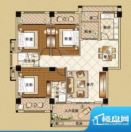 嘉泰皇家滨城户型3房面积:134.00m平米