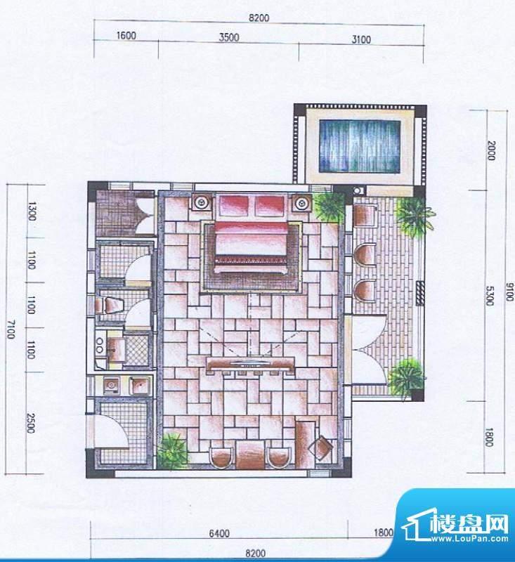 官塘御泉庄一期2-6号面积:64.75平米