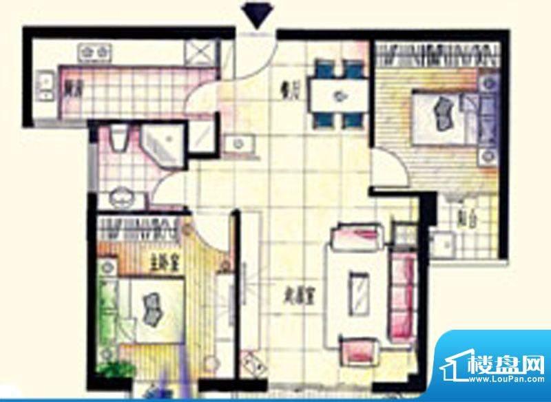 鑫弘花园城C户型2房面积:87.00m平米