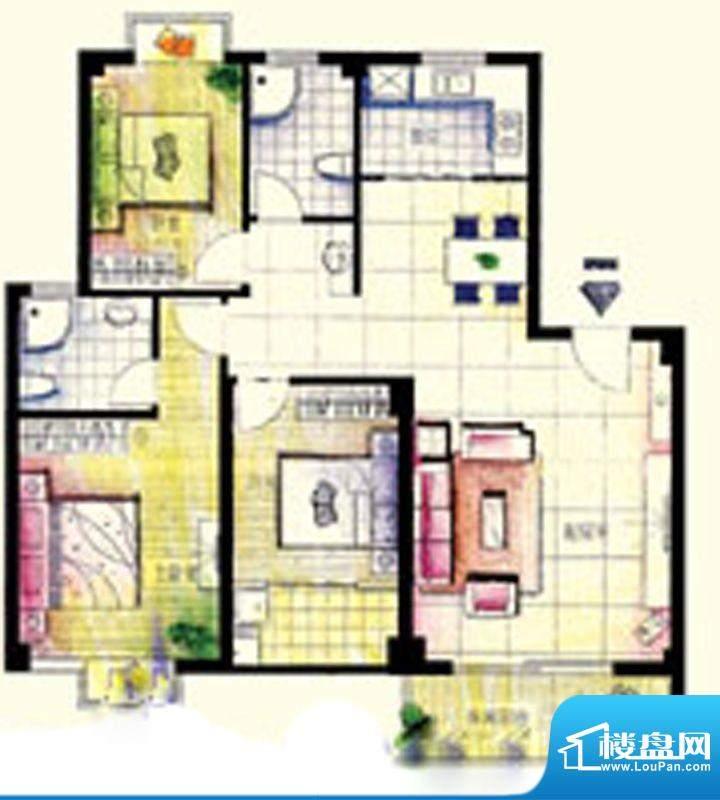 鑫弘花园城B户型3房面积:122.00m平米
