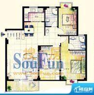 鑫弘花园城B户型3房面积:133.00m平米