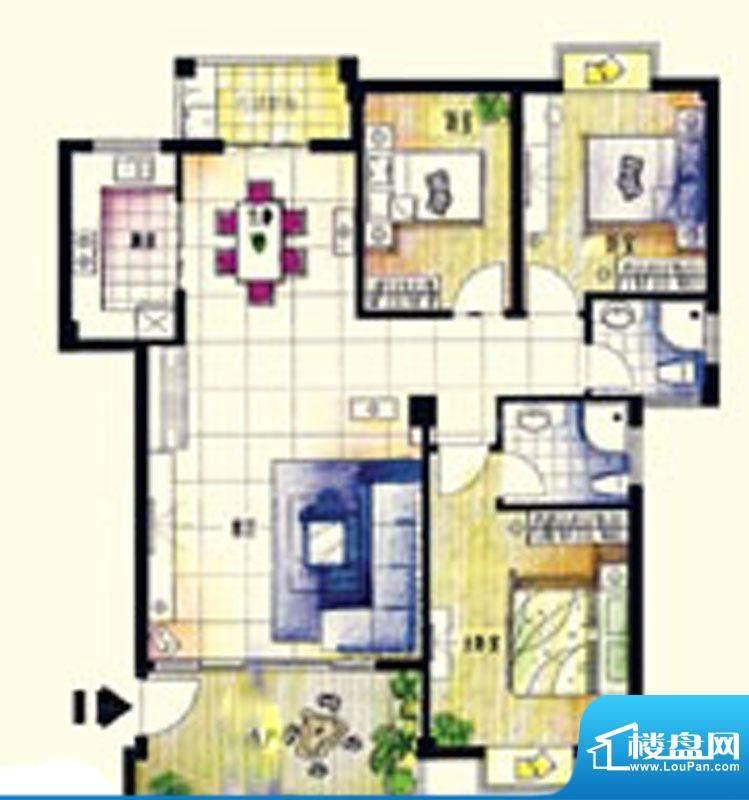 鑫弘花园城A户型3房面积:137.00m平米