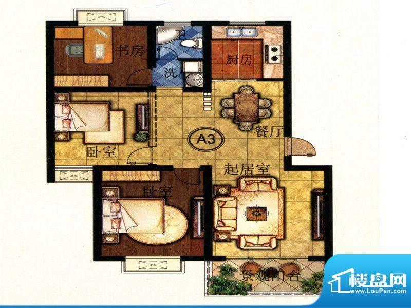 润天都汇A3户型 3室面积:102.90m平米