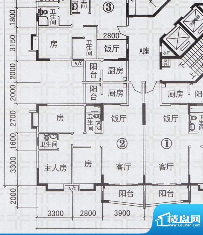 新都雅居A栋02户型 面积:108.42平米