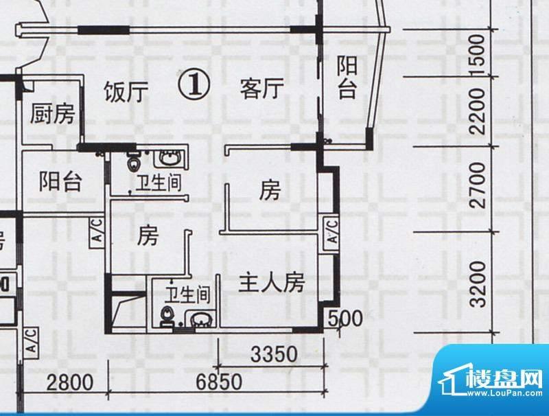 新都雅居B栋01户型 面积:98.01平米