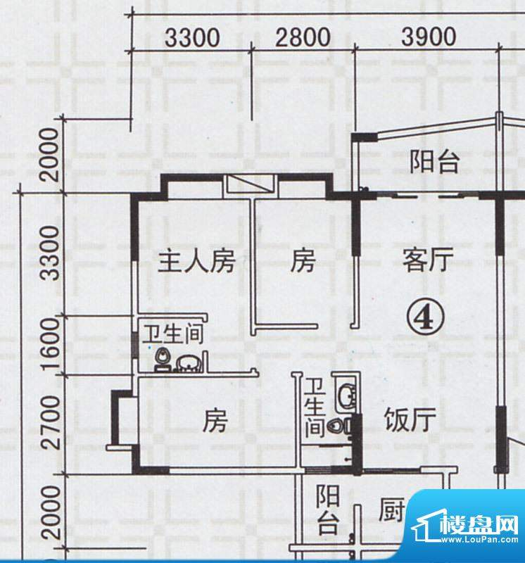 新都雅居B栋04户型 面积:108.42平米