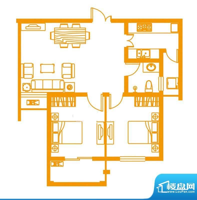 云顶雅苑户型1 2室1面积:83.00平米