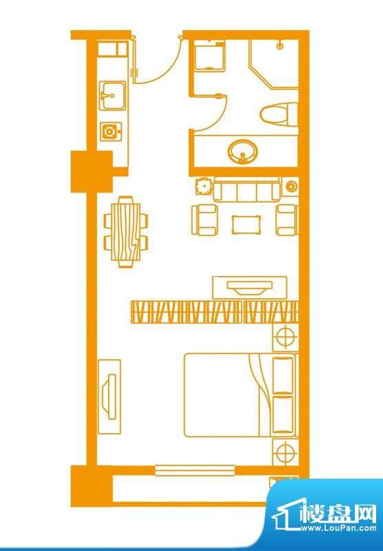 云顶雅苑户型2 1室1面积:40.00平米