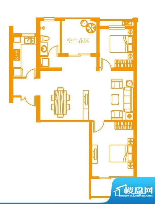 云顶雅苑户型3 3室2面积:98.00平米