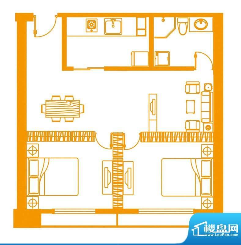 云顶雅苑户型5 2室2面积:80.00平米
