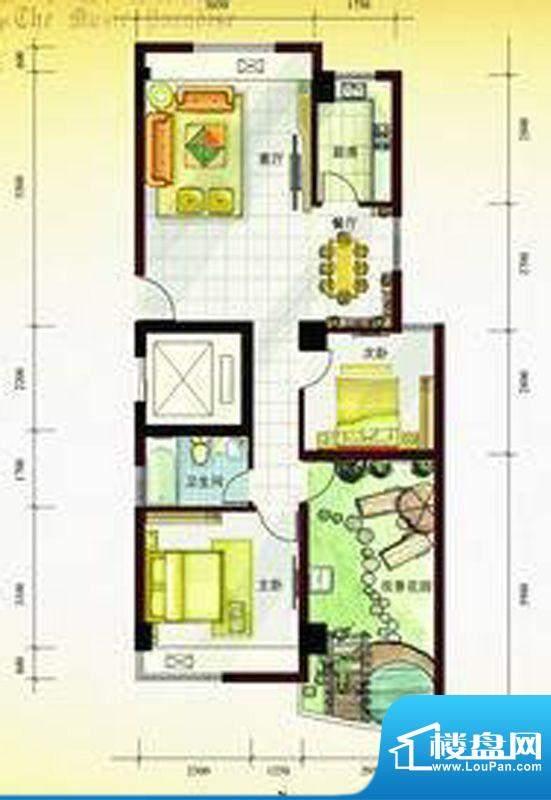 尚东琴畔2室2厅1卫面积:0.00m平米
