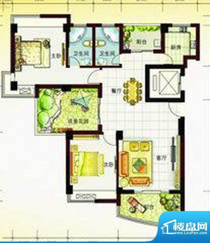 尚东琴畔1栋04单元户面积:128.74m平米
