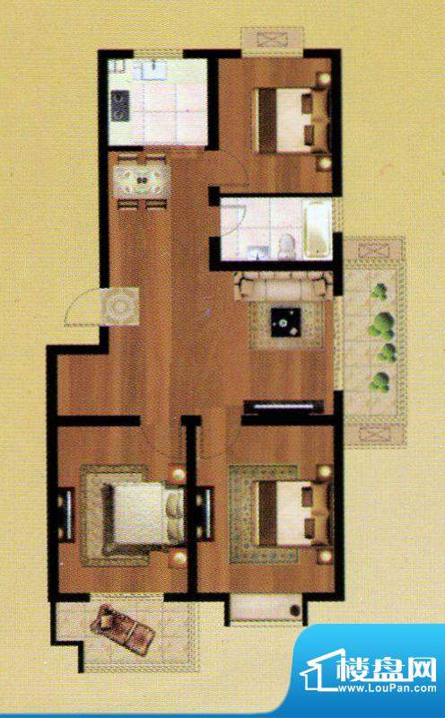 嘉禾·盛世豪庭A户型面积:113.75m平米
