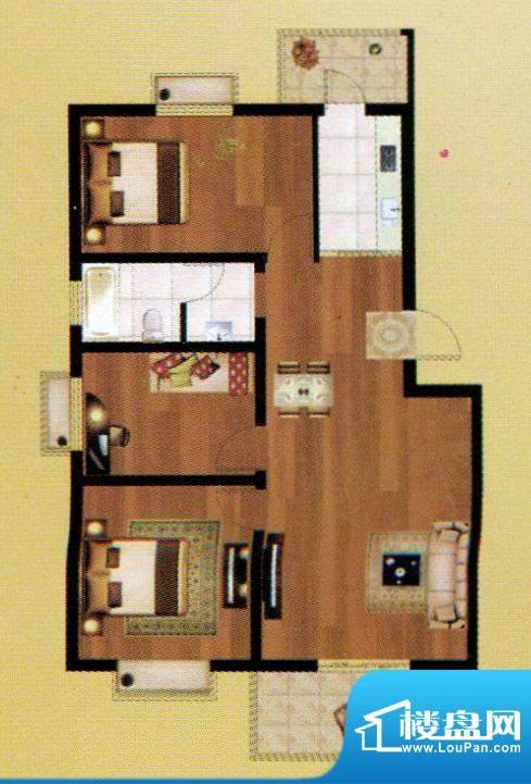 嘉禾·盛世豪庭E户型面积:106.10m平米