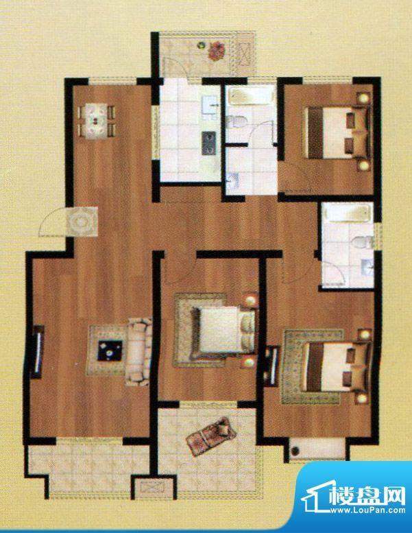 嘉禾·盛世豪庭F户型面积:154.64m平米