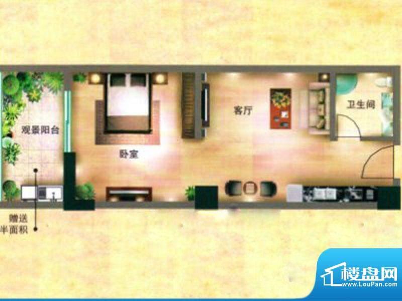 立欣东方新城户型图面积:55.00m平米