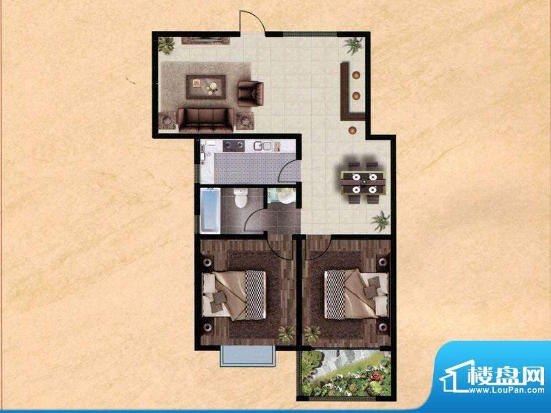 众兴·嘉城B户型 2室面积:108.00m平米
