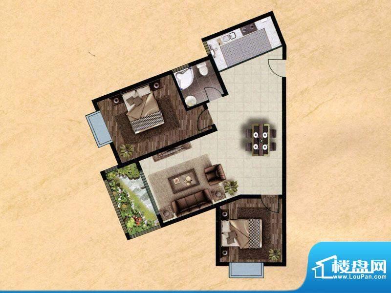 众兴·嘉城D户型 2室面积:102.00m平米