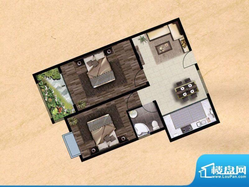 众兴·嘉城E户型 2室面积:93.00m平米