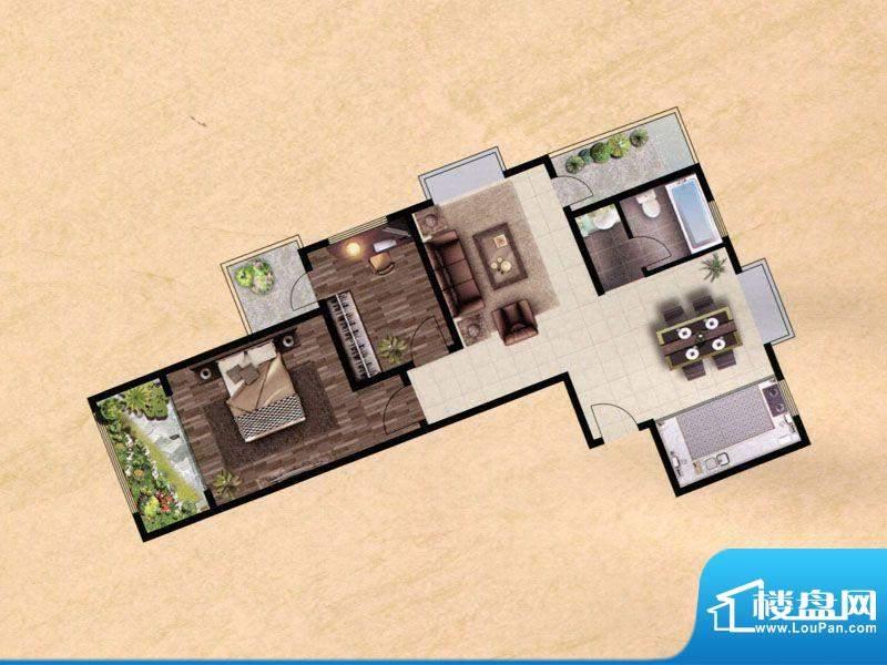 众兴·嘉城F户型 2室面积:100.00m平米