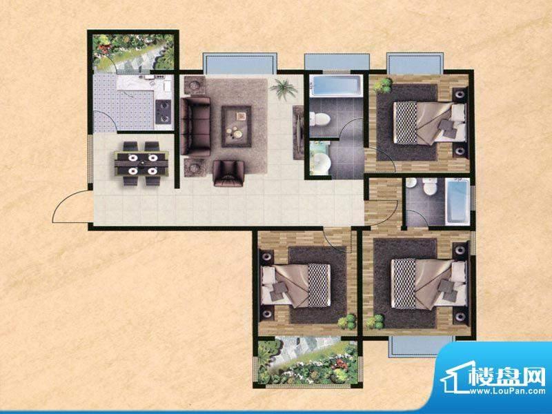 众兴·嘉城I户型 3室面积:133.00m平米