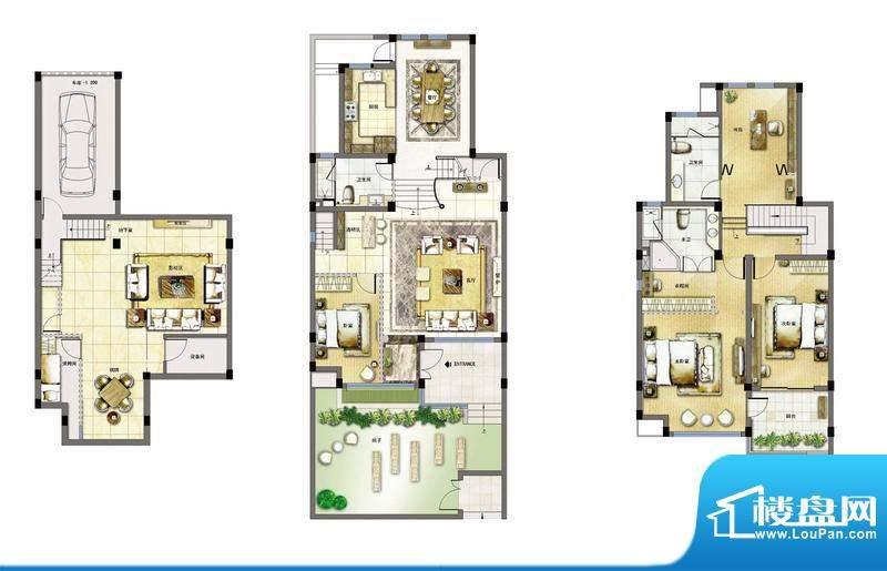 玖园1号楼A1户型 4室面积:271.59平米