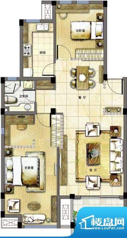 玖园2号楼A2户型 2室面积:103.26平米