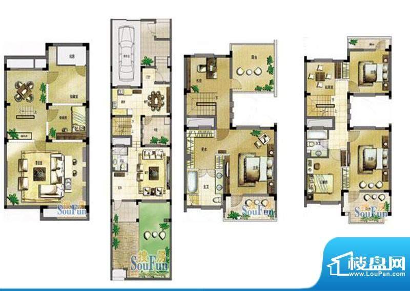 玖园12号楼E户型 5室面积:280.00平米