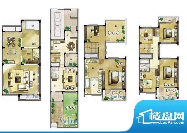 玖园18号楼E户型 5室面积:280.00平米
