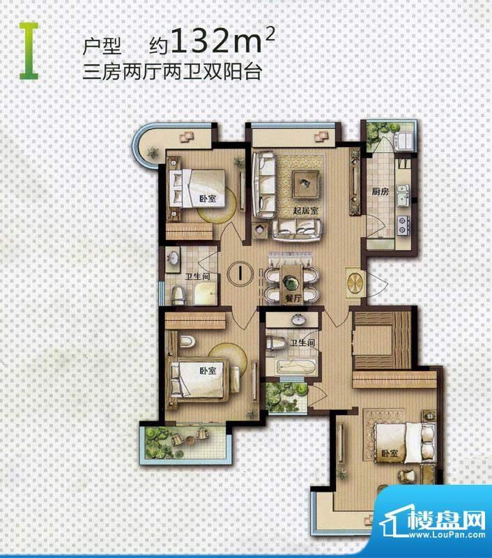 和府奥园一期3号楼标面积:132.00平米