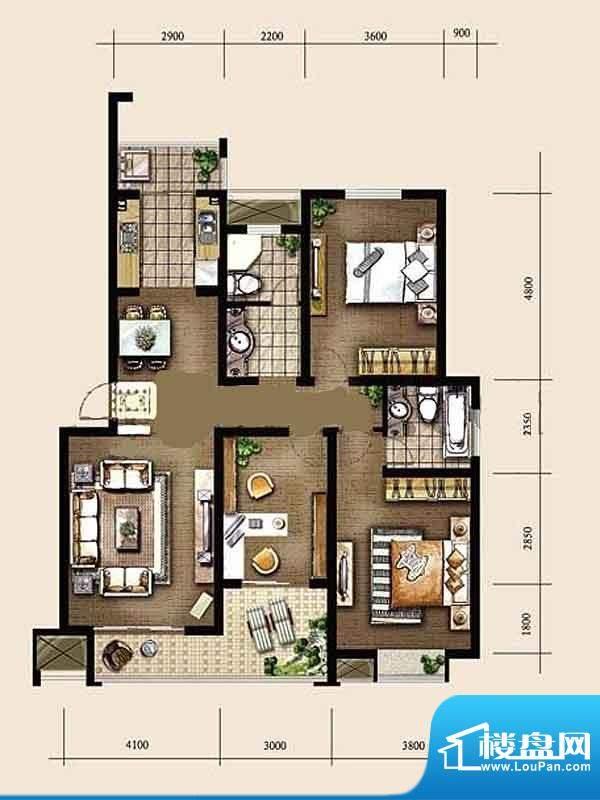 金东城世家一期5、7面积:127.68平米
