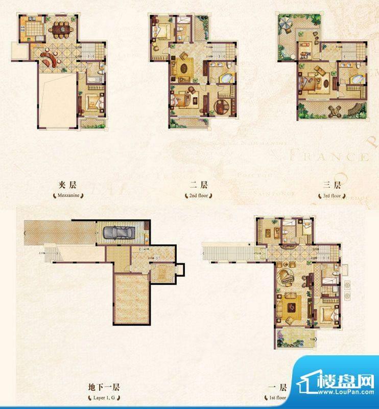 中恒倚山艺墅别墅A1面积:409.00m平米