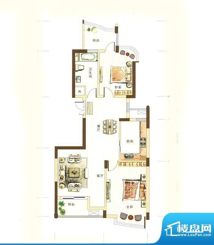 和馨花园D户型 2室2面积:101.00m平米