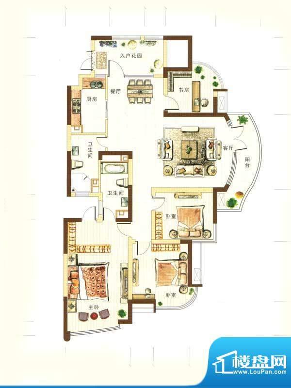 和馨花园E户型 4室2面积:179.00m平米
