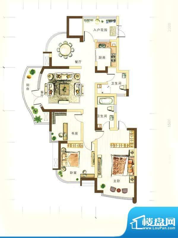 和馨花园F户型 3室2面积:157.00m平米