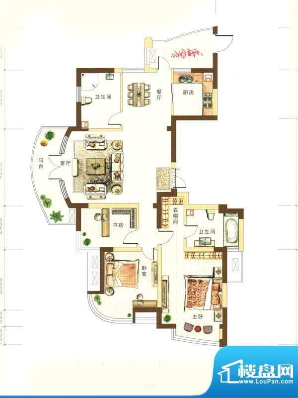 和馨花园A户型 3室2面积:134.00m平米