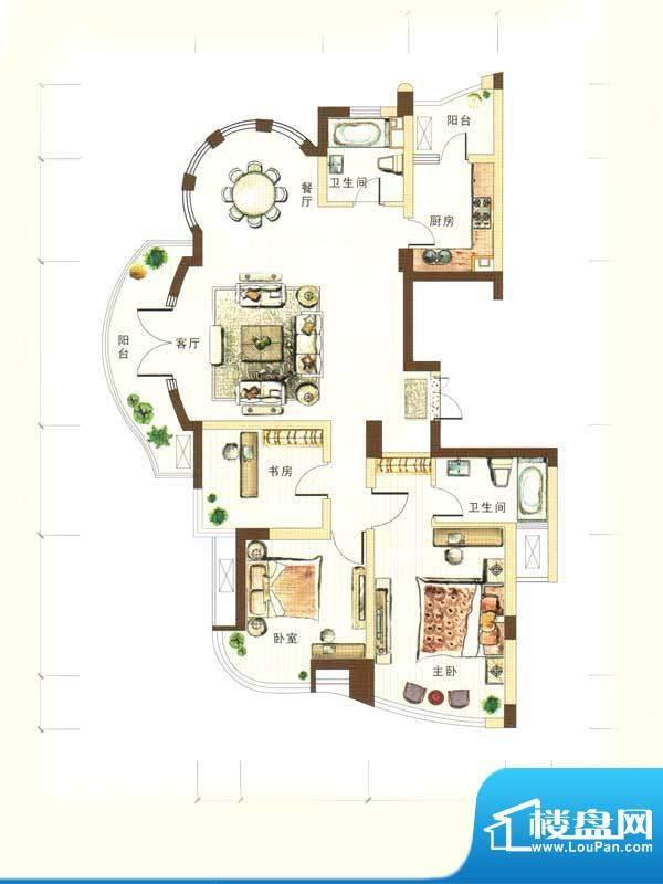 和馨花园B户型 3室2面积:135.00m平米
