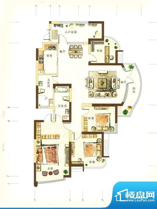 和馨花园G户型 4室2面积:183.00m平米