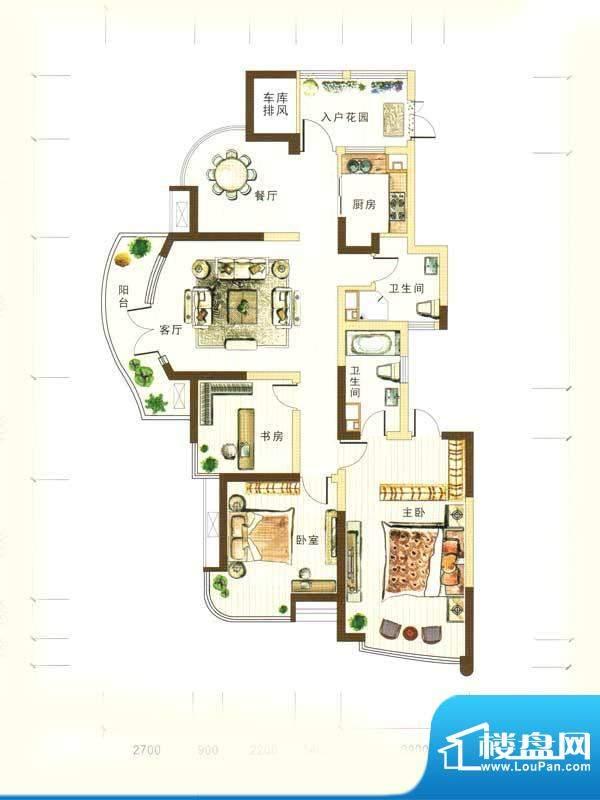 和馨花园H户型 3室2面积:157.00m平米