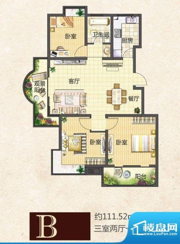 龙池翠洲小高层47幢面积:111.52平米