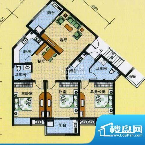 怡沁苑户型图五面积:126.97平米