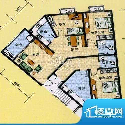 怡沁苑户型图六面积:139.65平米