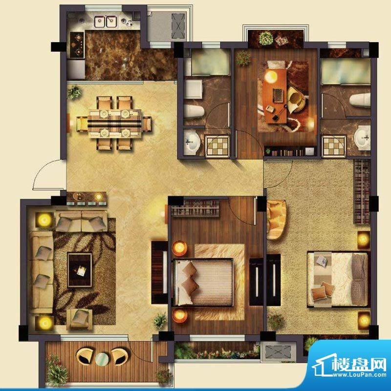 美岸栖庭H户型 3室2面积:119.00m平米
