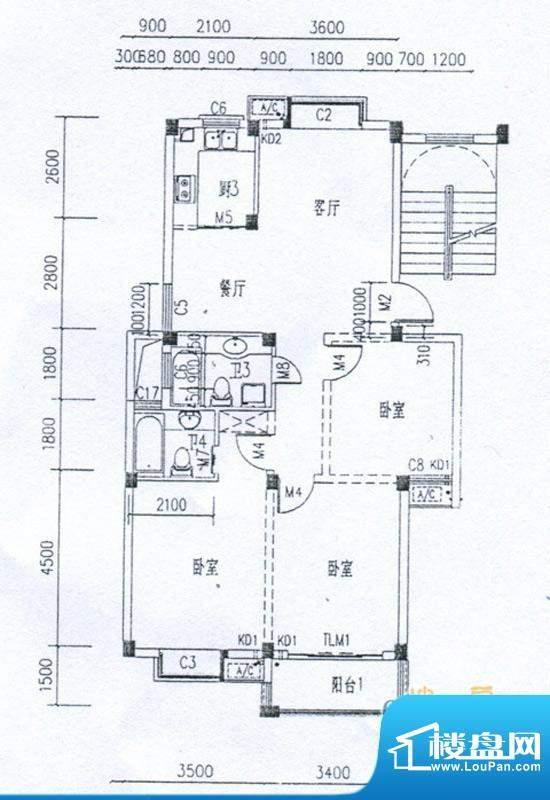 水岸帝景户型B 3室2面积:105.90m平米