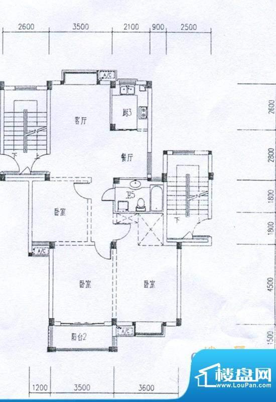 水岸帝景户型H 3室2面积:104.18m平米