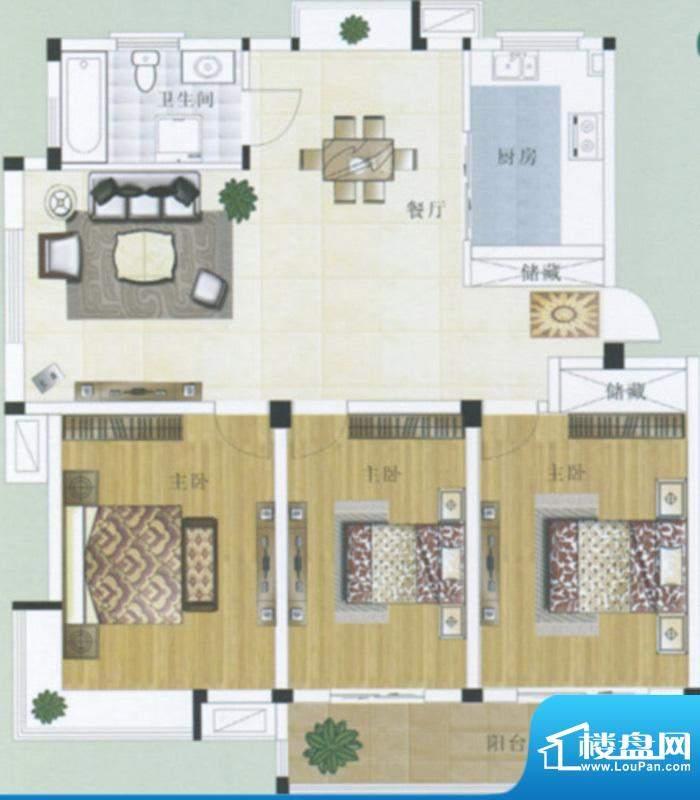 水岸帝景3户型 3室2面积:116.70m平米