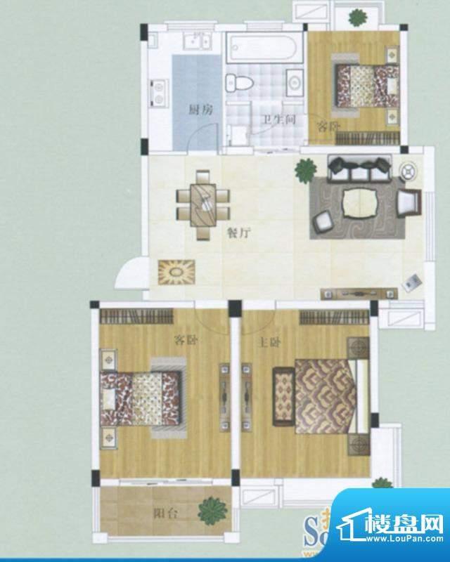 水岸帝景4户型 3室2面积:95.17m平米